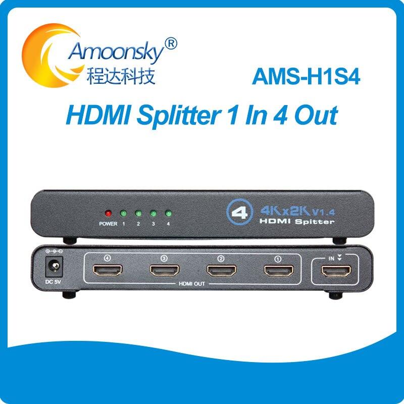 H1S4 HD compatible con HDMI interruptor divisor 1X4 H1S4 soporte 1080P 3D...