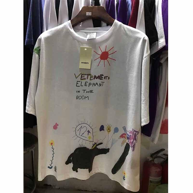2019 New Summer Style Graffiti Vetements T Shirts 1:1 Best Quality Cotton Casual Hip Hop T Shirt High Street Vetements T Shirts