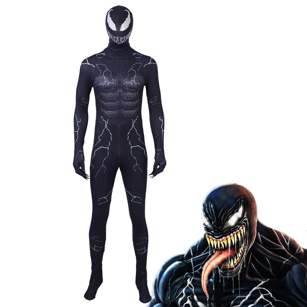 Spiderman Venom máscara de disfraces de Cosplay mono negro Edward Brock casco de superhéroe oscuro accesorios de fiesta de Halloween DropShipping
