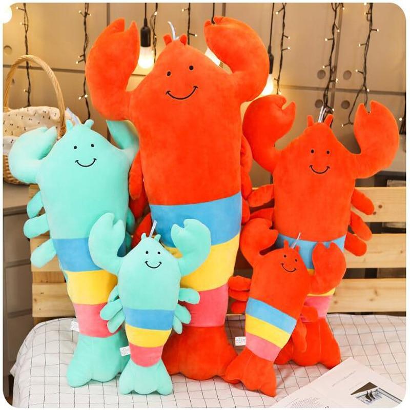 De dibujos animados Color langosta de peluche de juguete de peluche de felpa suave cuerpo langosta almohada cojín del sofá divertido los niños niña regalo de cumpleaños
