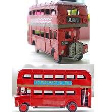 Bus rouge rétro de grande-bretagne   Manuel, Bus I love London Bus à deux étages, modèles artisanat en fer Shabby Chic artisanat