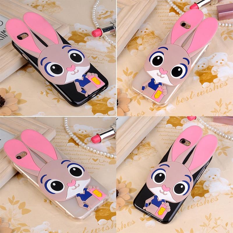 3D de dibujos animados lindo Judy Bunny teléfono caso para Lenovo Vibe A7010 A7010a48/X3 Lite/K4 nota cubierta de silicona conejo Fundas