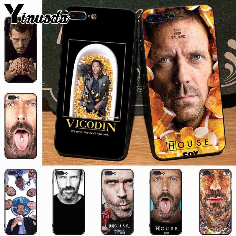 Yinuoda el dr. House Hugh Laurie pastillas superior detallada Popular caso para Apple iPhone 7 6 6S Plus X 5S 11pro SE 5C cubierta de la Caja