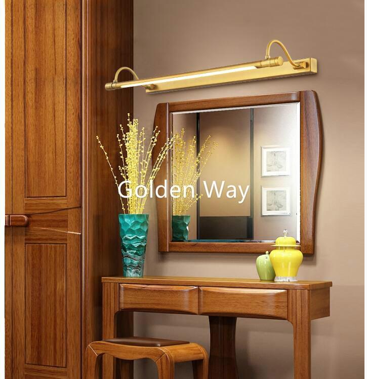 56cm/68cm Bathroom Mirror Lamp Waterproof Retro Bronze Cabinet Vanity Mirror Lights 100% Brass LED Wall Lamp LED Light Wall Lamp