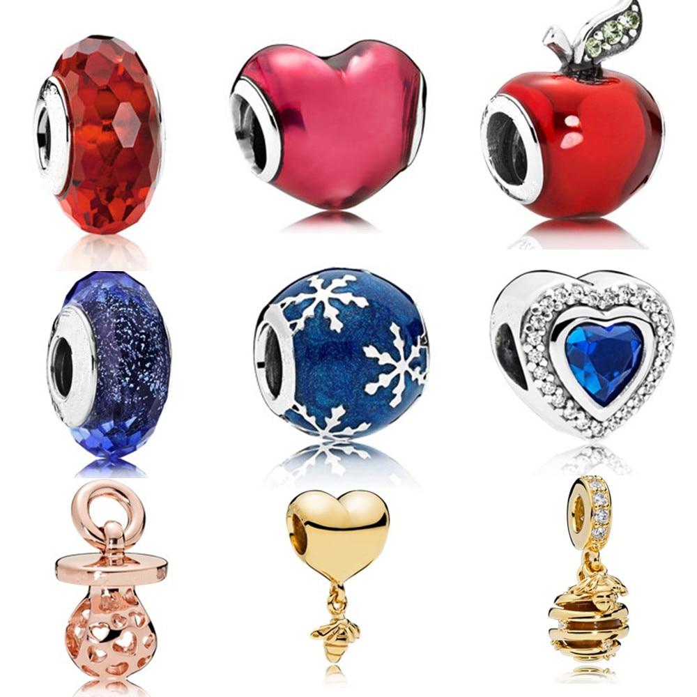 Ranqin, collar rojo, moda, nuevo, Europeo, DIY, abalorio para pulsera Pandora, colgante para mujer, regalo de oro, copo de nieve Original