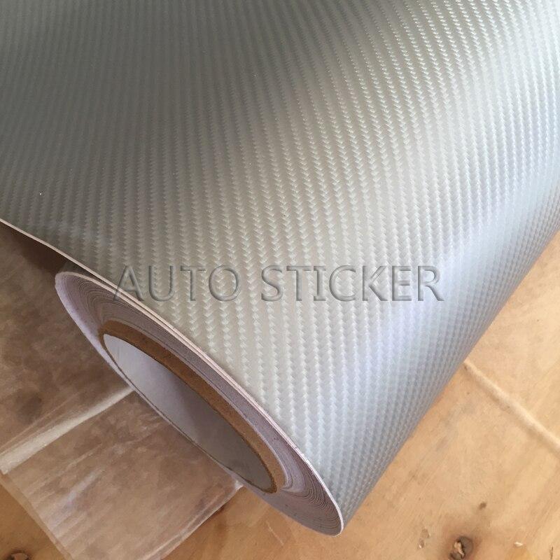 10/20/30/40/50X152 CM Prata 4D Fibra De Carbono Vinyl Film Envoltório Carro Styling Adesivo Decalque Adesivo Bolha de Ar Livre