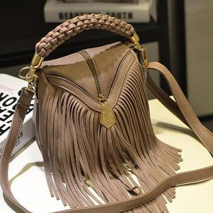 New Vintage Mini Boston Bags Hand Weave Luxury Handbags Women Famous Brand Tassel High Quality Leather Totes Shoulder Crossbody