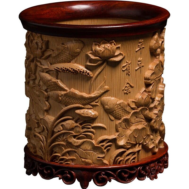 Escultura em Madeira Ornamentos de Bambu Águia Criativo Escritório Retro Mão-esculpida Artesanato Wenwan Natural Caneta Titular en