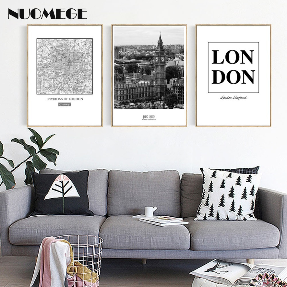 De La Ciudad de Londres y Negro estilo blanco paisaje carta lona pintura cartel imprimir imagen pared para sala de decoración del hogar