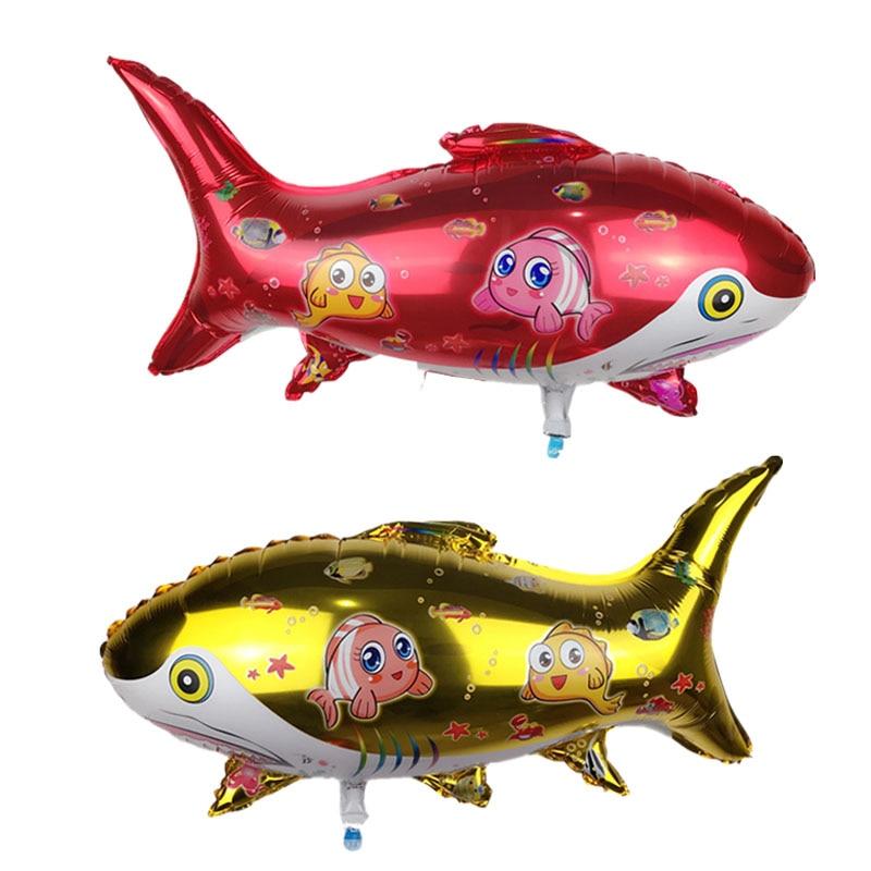 20 piezas globos de tiburón Rojo Dorado de 80x50cm, globos de helio con papel de animales grandes de dibujos animados, artículos de feliz cumpleaños, globo de mylar para juguetes infantiles
