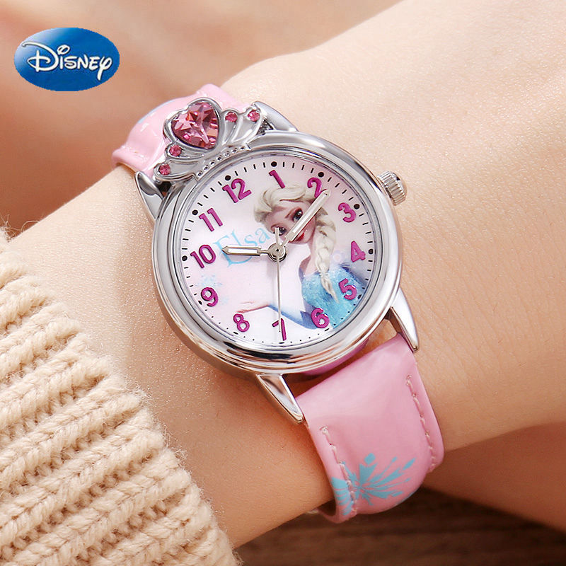 Genuine Frozen Elsa Girls Watches Diamond Crown Clock Beautiful Princess Children's Student Watch Student back to school gift