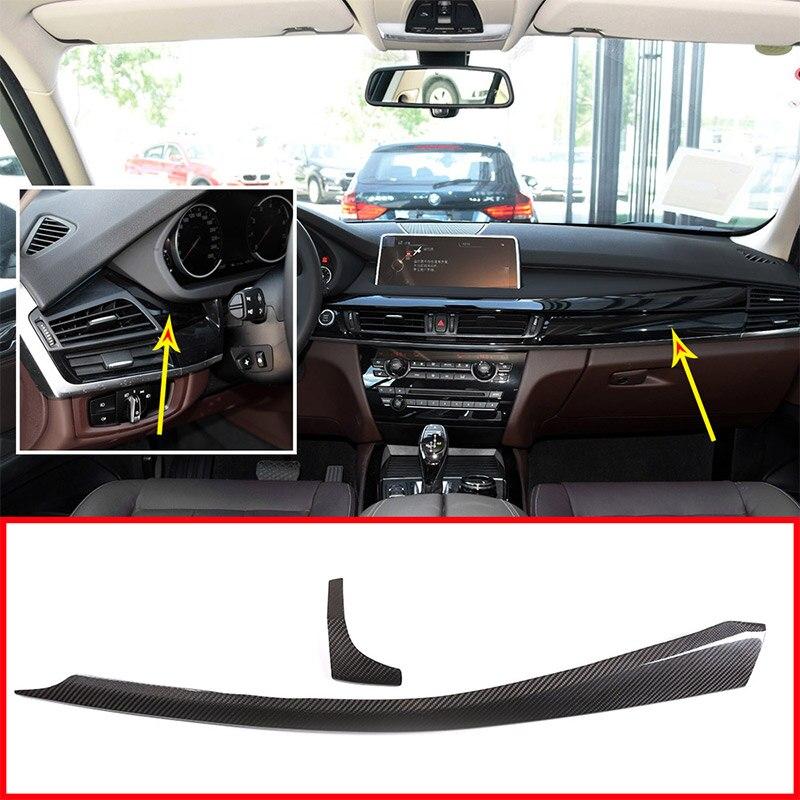 2pcs Real Carbon fiber For BMW X5 F15 X6 F16 2015-2018 Car Interior Dashboard Decoration Panel Trim Accessories Left Hand Drive