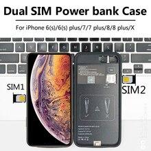 Para el iPhone 6/7/8/X nuevo ultrafino Bluetooth SIM Dual Modo de espera Dual adaptador Larga modo de reposo 7 días con 1500/2500 mAh Banco de la energía