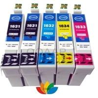 5 compatible epson 16xl t1631 t1632 t1633 t1634 or t1621 t1622 t1623 t1624 ink cartridge free shipping