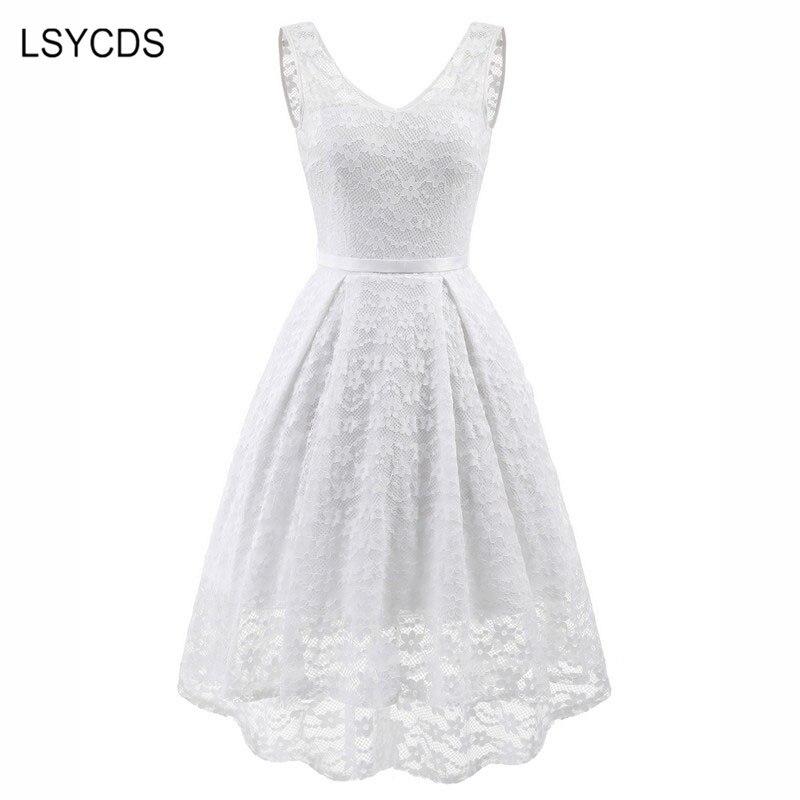 2020 blanco nuevo Vestido De encaje promoción Sexy cuello pico ropa De las mujeres verano Robe Vintage Retro Casual Vestido De fiesta