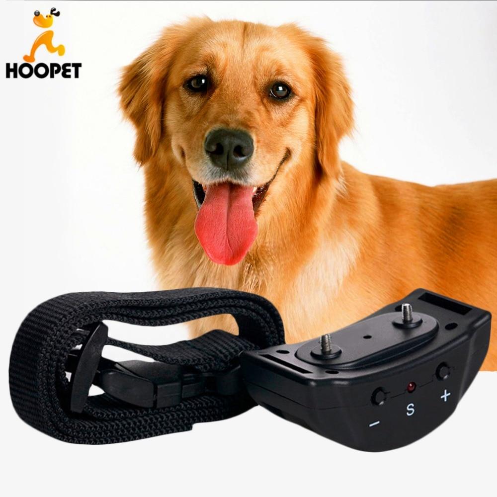 Hoopet chien Anti-aboiement collier Auto Vibration choc formation arrêter aboyer aboiement dissuasion en cuir laisse livraison directe