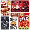 Винтажные металлические тарелки Devil, фирменные декоративные настенные наклейки с собаками, сыром, бургером, металлическим декором, MN79