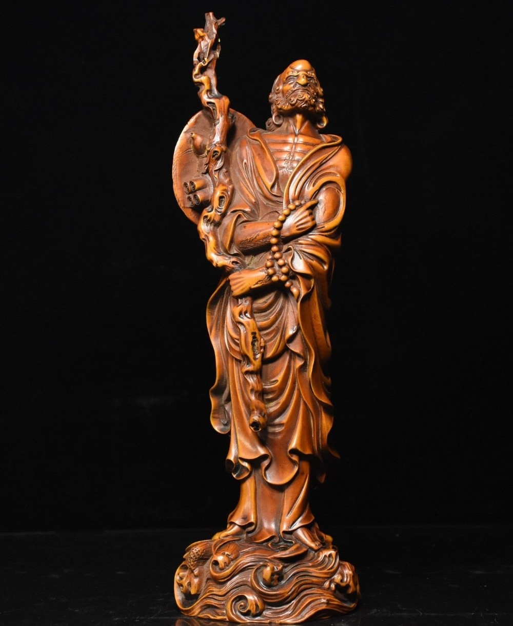 "Navidad 12 ""el budismo chino madera de boj"" Arhat ""Damo Bodhidharma Dharma estatua de Buda de halloween"