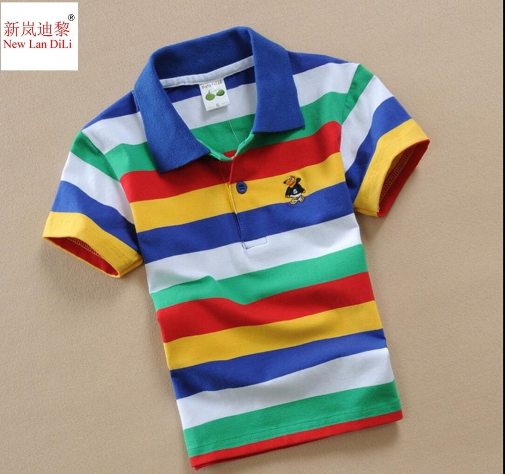 New Teen Boys 3Y-16Y Polo Shirt Kids Spring Autumn Fashion Short Sleeve Striped Cotton T-shirt Children Boys Tee Top Quality