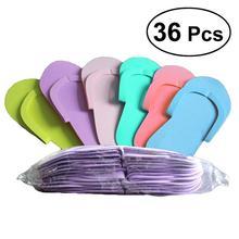 36 paires jetables mousse pédicure Slippper haute qualité mousse pantoufles pour Salon Spa pédicure (couleur aléatoire)