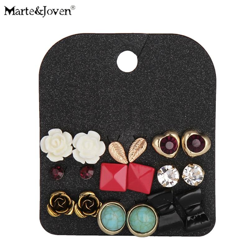 Marte&Joven 9 Pairs Jewelry Purple Rhinestone Heart Leaf Flower Bow Golden Studs Sets Green Stone Vintage Earring Sets For Women