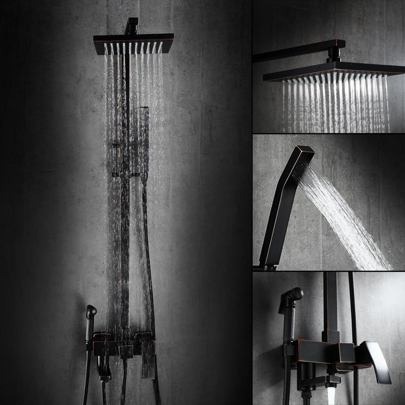 رأس دش نحاسي أسود بأربعة مبارد ، صنبور دش مربع ناعم ، مثبت على الحائط ، رأس دش دوار