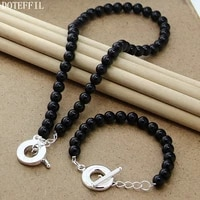 doteffil 8mm black agate beaded chain 925 silver ot buckle necklace bracelet set for women wedding engagement party jewelry