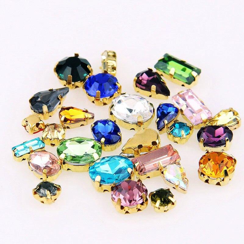 Смешанные размеры и смешанные формы прозрачное стекло пришить стразы с четырьмя золотыми когтями применяются для украшения одежды своими ...
