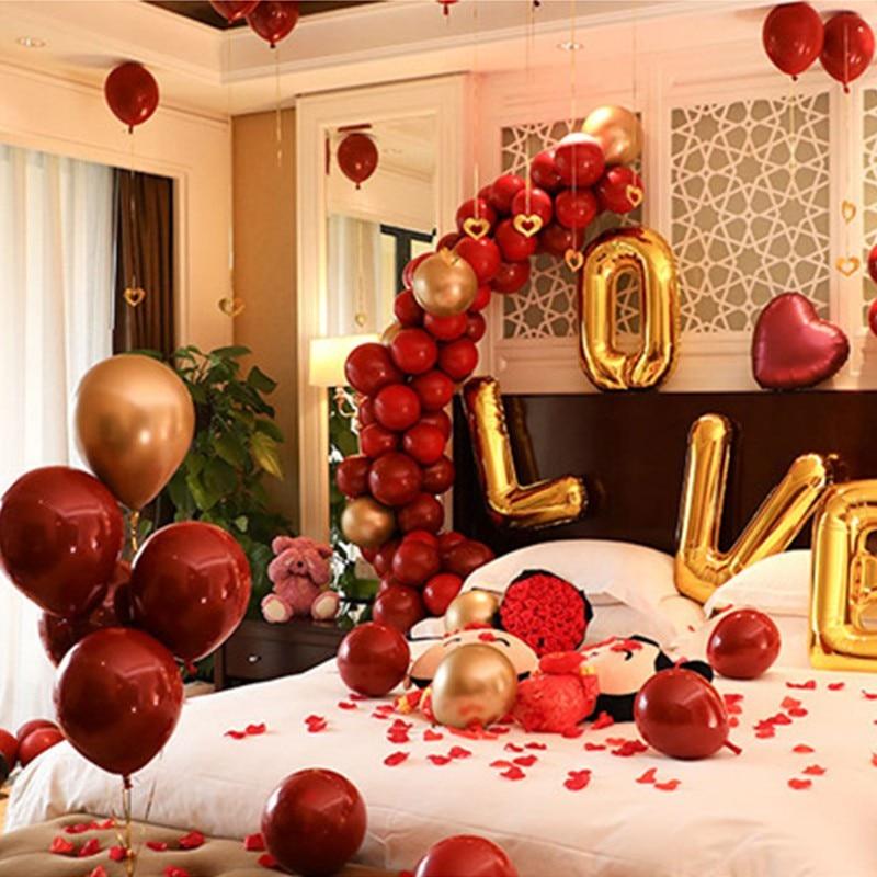 Fiesta suministros 50 piezas de 10 pulgadas de doble capa Granada rojo decoraciones de fiesta de cumpleaños de celebraciones de la boda globos