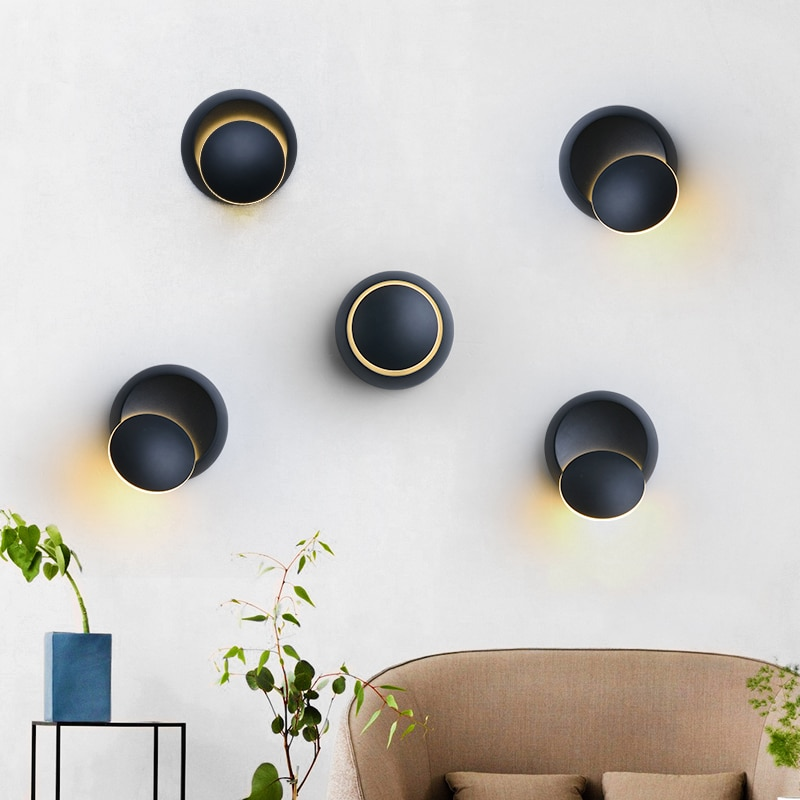 QLTEG 5W LED Wall Lamp 360 degree rotation adjustable bedside light 4000K Black creative wall lamp Black modern aisle round lamp  - buy with discount