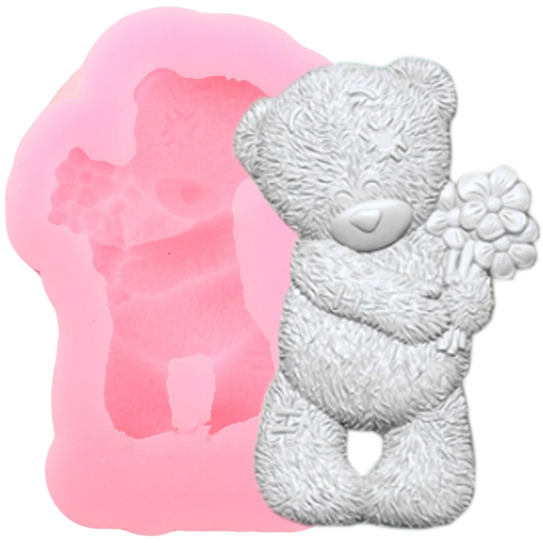 3D oso flor molde de silicona para dulces Galleta de Chocolate para hornear moldes DIY Cupcake Topper boda utensilios para decoración de tortas con fondant