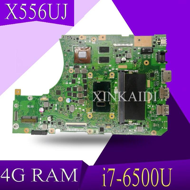 XinKaidi X556UJ/X556UV placa base de Computadora Portátil For ASUS X556UJ X556UV X556UB X556UR X556UF Teste placa base original 4g RAM i7-6500U