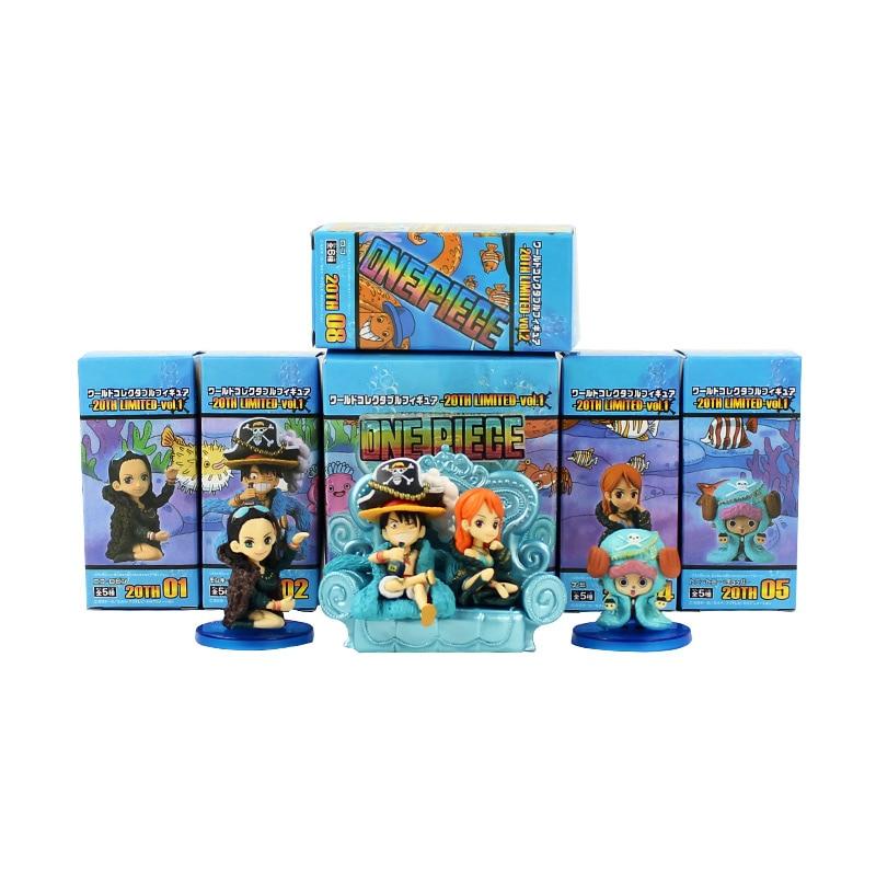 6 pz/lotto Anime di Un Pezzo 20th Anniversary Rufy Nami Robin Chopper PVC Action Figure Da Collezione Model Toy 8 cm