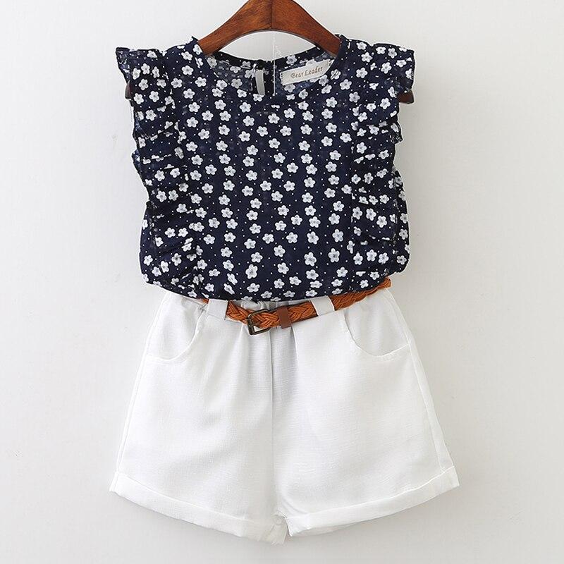 Ours Leader filles vêtements ensembles 2021 été nouvelle marque ensemble coton pastèque T-shirt + coton Shorts ensemble deux pièces pour 3-7 Y