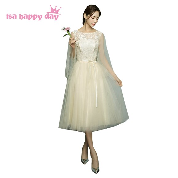 elegante formale champagne tulle spring dress party evening elegant gown short lace 2020 engagement events dresses women H4113