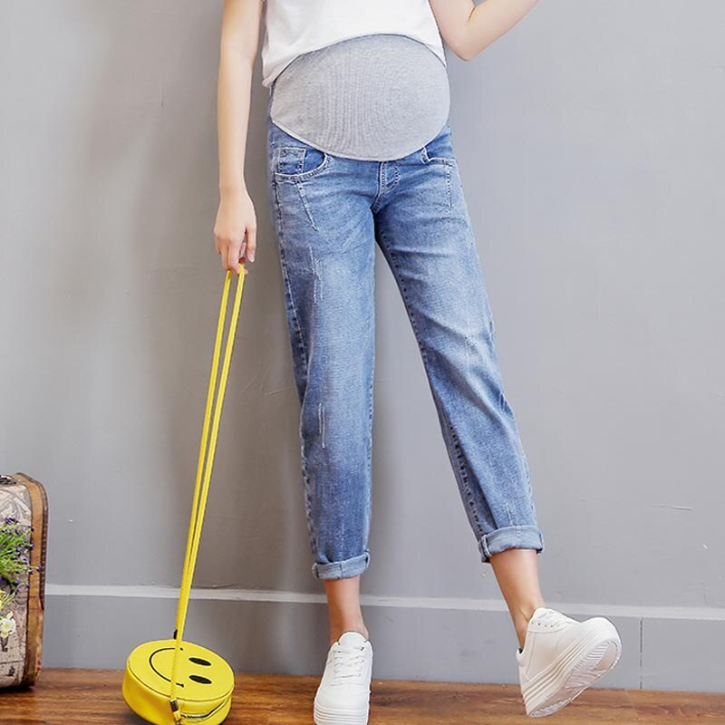Vintgie غسلها الدنيم بنطلون جينز للأمهات المرضعات للنساء الحوامل مرونة الخصر البطن السراويل فضفاضة الحمل Gravidas الملابس 2021