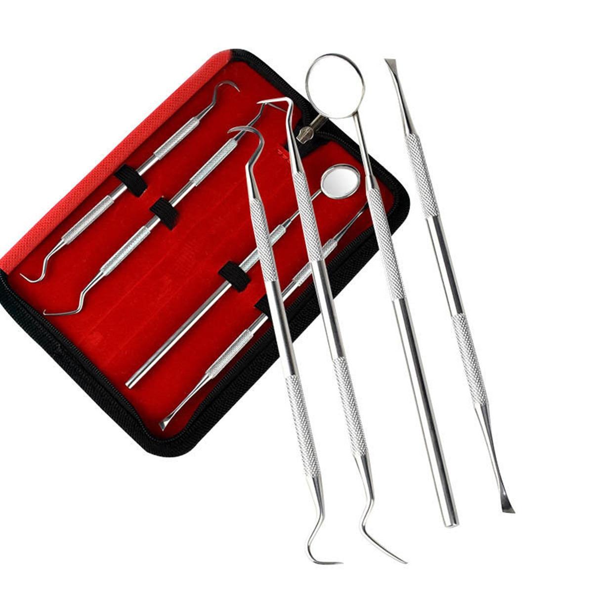 4 Uds herramienta Dental profesional de acero inoxidable limpieza Dental explorador higiene sonda gancho Cuidado Oral Kits dientes blanco
