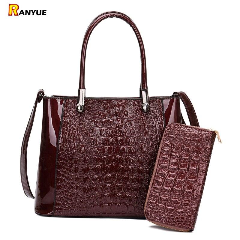 Bolsos de hombro de piel de cocodrilo de lujo de alta calidad, bolsos de mano y monederos para mujer, grandes bolsos de mano para mujer