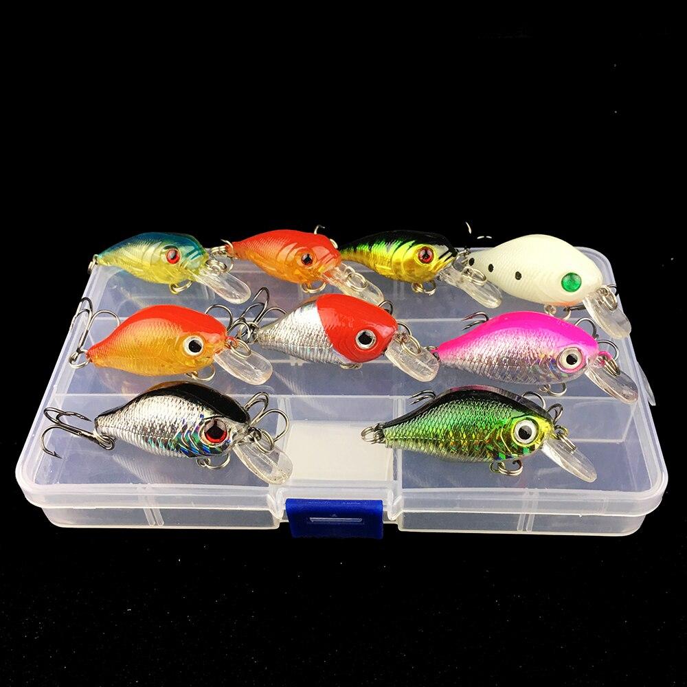 9 шт., высокое качество, Кривошип, твердая приманка для рыбалки, набор наживки с чехлом, коробка для хранения, Crankbait, набор гольян, бас, Япония, карп, pesca