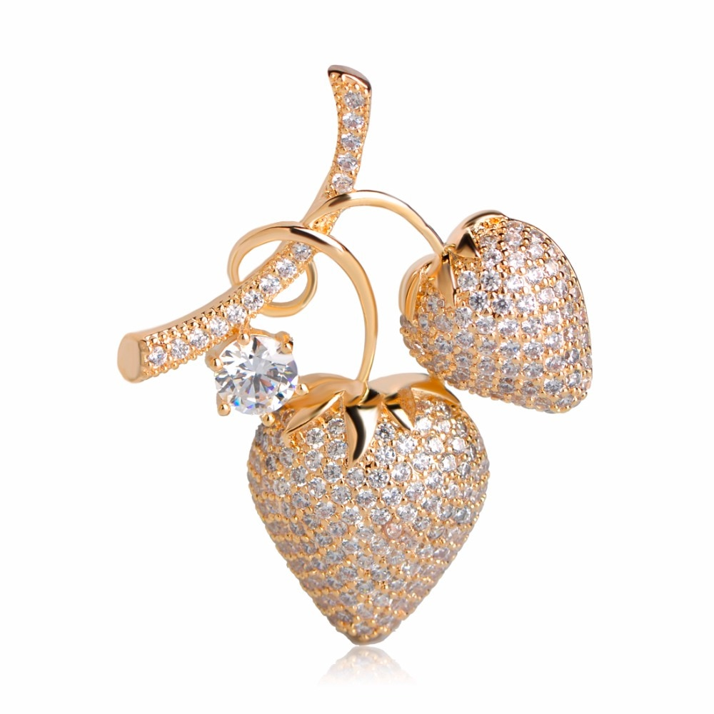 Funmor de lujo de circón cúbico forma de cereza broche Pins Color dorado accesorios de boda Buen regalo para Mujeres Hombres broches de cobre