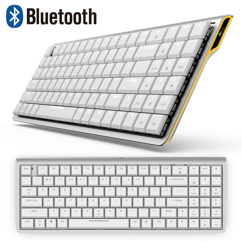 RK929 перезаряжаемая 96 клавиш белая LED подсветка Bluetooth механическая клавиатура геймер мини эргономичный Металл для телефона ПК ноутбук планшет