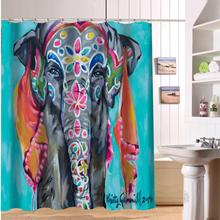 Rideau de douche moderne de tissu dimpression déléphant coloré fait sur commande rideau de salle de bains imperméable écologique avec lexpédition de baisse de trou