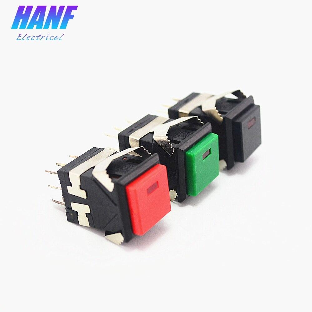 1 Uds 17,2*17,2mm auto-enclavamiento 2NO2NC botón cuadrado interruptor 3A/250V 6A/125V con lámpara LED Snap-in plástico