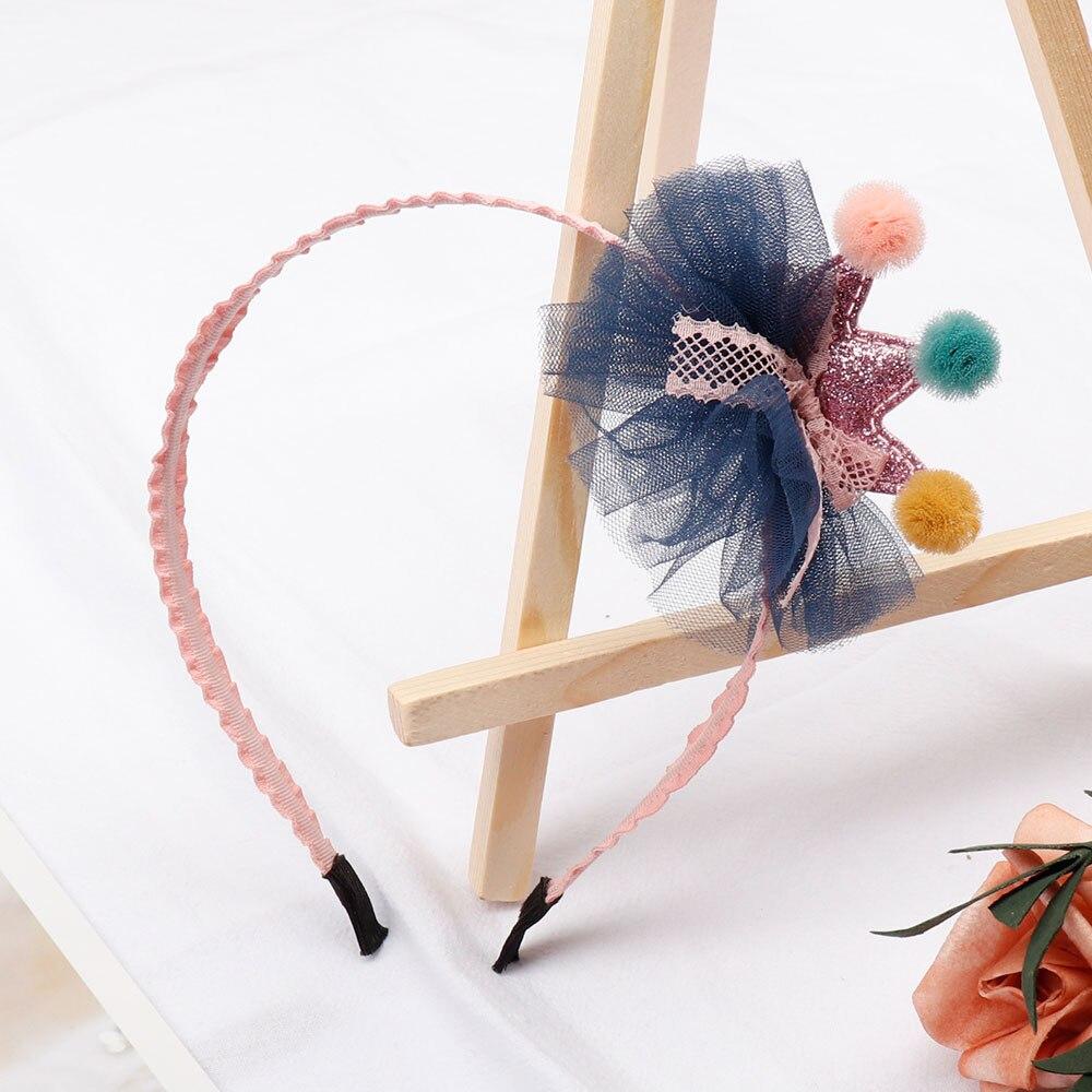 Diadema de flores de encaje con parche de corona de lentejuelas para niñas/niños de alta calidad diademas elásticas accesorios para el cabello