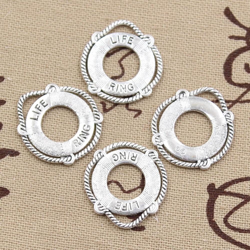 8 Uds encantos anillo de vida salvavidas 23x22mm antiguo hacer colgantes ajuste Vintage tibetano color plateado bronce joyería hecha a mano
