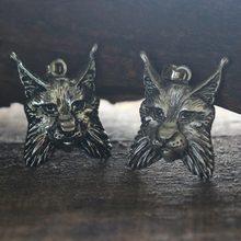 Lanseis 10 pièces viking animal LYNX, pendentif hommes collier tête de Lynx Animal Totem. Bobcat charme chat bijou bijoux païens