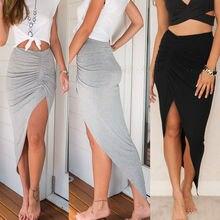 Jupe Slim femmes fente crayon longue Maxi jupe en gros taille 6-16 jupes dames froncé côté fendu mince gris noir jupes