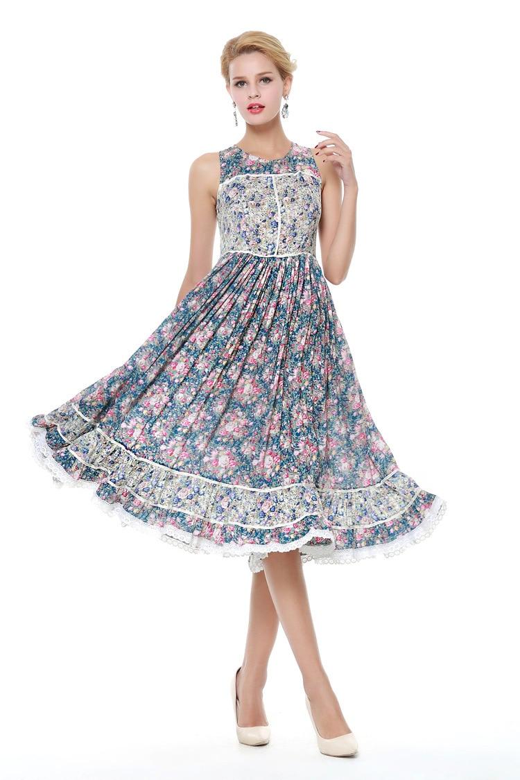 Mujer verano impreso Floral Vintage Vestidos 50s 60s Retro vestido Pinup Rockabilly fiesta Vestidos bata Vestidos femeninos De Playa