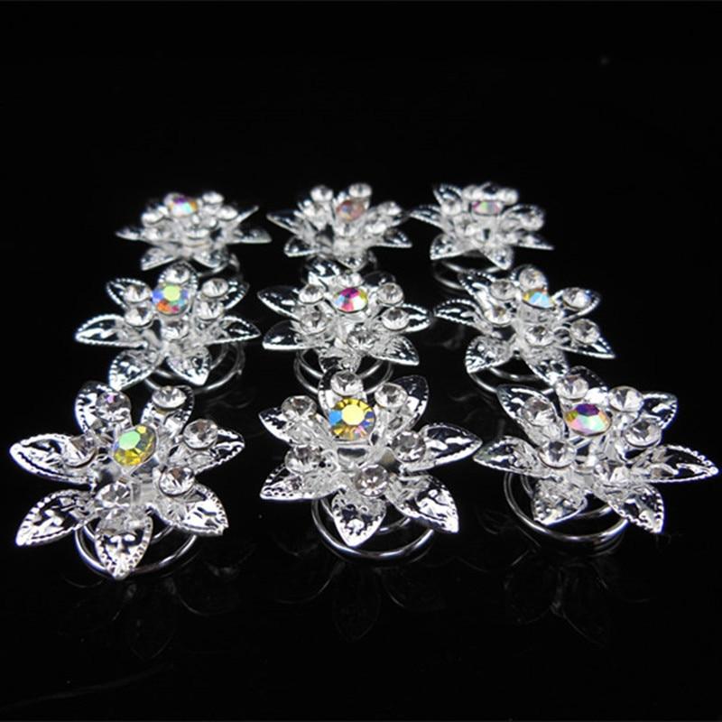 New 30Pcs Bridal Wedding Prom Crystal Rhinestone Flower Hair Twists Spins Pins Silver Color Free Shipping