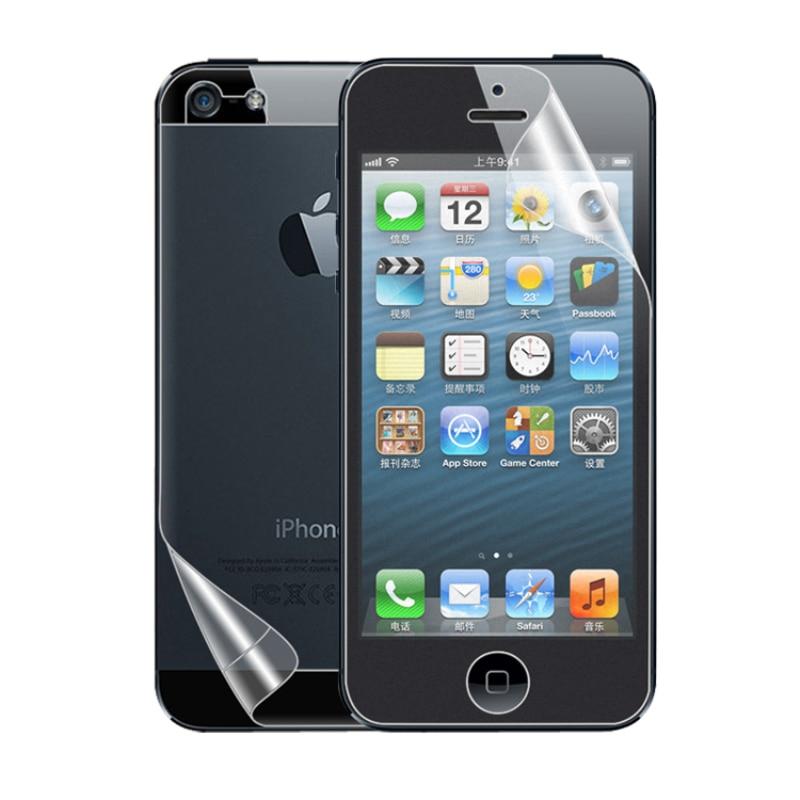 Para Apple iphone 5 5S SE HD transparente y brillante Protector de pantalla de LCD frontal cubierta trasera lámina protectora de PET escudo ecran accesorios de teléfono